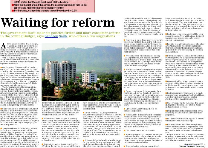 Waiting for Reforms - Real Estate Mumbai